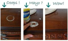 Mayo to get water rings off of wood.  Who knew?