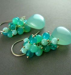 Pretty Colors! » Aqua Chalcedony Peruvian Opal and Jade Earrings » by SurfAndSand on etsy.com