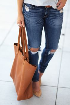 Brown leather tote