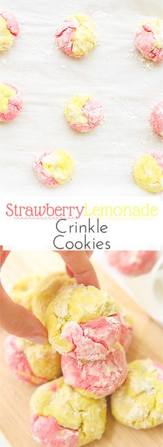 This strawberry lemonade crinkle cookies recipe combines zesty lemon flavors with sweet strawberry hints in a soft and fluffy crinkle cookie! These moist gluten free cookies are a great little snack or dessert all summer long! via blessherheartya Brownie Desserts, Oreo Dessert, Mini Desserts, Coconut Dessert, Holiday Cookie Recipes, Best Cookie Recipes, Best Dessert Recipes, Baking Recipes, Delicious Desserts