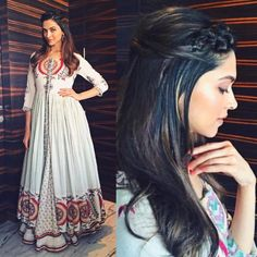 Deepika Padukone for Tamasha Promtions in Vrisa by Rahul and Shikha Pakistani Dresses, Indian Dresses, Indian Outfits, Saree Hairstyles, Open Hairstyles, Braided Hairstyles, Indian Attire, Indian Wear, Stylish Dresses