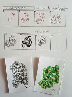 Curlycrown by Kathrin Gussow Zentangle Drawings, Doodles Zentangles, Doodle Drawings, Tangle Doodle, Zen Doodle, Doodle Art, Easy Zentangle Patterns, Doodle Patterns, Zantangle Art