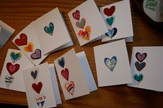 Stitched heart cards - these are adorable and kid friendly. Now if I can just fix my machine (again).