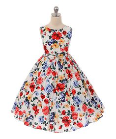 Take a look at this Kid's Dream Pink & Blue Rose A-Line Dress - Toddler & Girls today!