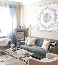 We're loving the elegant living room/office of insta fan @lycheestyle! Features our Solitude Panel and Cosmopolitan Coffee Table.