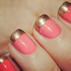 coral and gold. Andrea i think we could do this will the new polish and the gold gliter??