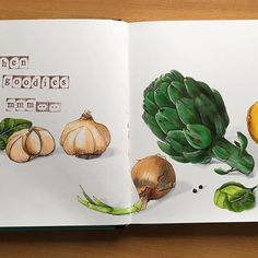 Kitchen goodies Finished!Some of them are consumed already #sketching #maxgoodz #sketchbook #markerspro_maxgoodz #copicmarkers #copicsketch #illustration #drawing #drawingeveryday #cansonpaper #cansonthewall #kitchengoodies #artichoke #lemon #onions #basilica #garlic #blackpepper #sketchflashmob2017 #sketchflashmob