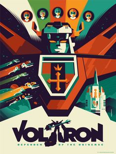 Voltron (variant colors) by Tom Whalen - $65.00 Limited Edition Licensed Screenprint 18x24 - 7 color screen print with Metallic Inks Paper: Cougar Natural 100lb Run Size: 100 Markings: Signed and Numbered