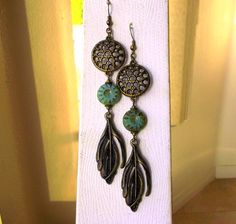 Antique Brass Feather Charm Earrings