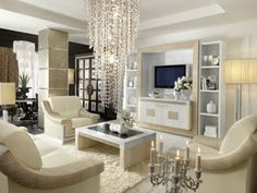 Classic Luxury Accents Furniture Living Room Design With Chandelier