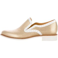 Pre-owned The Office of Angela Scott Embossed Round-Toe Oxfords ($150) ❤ liked on Polyvore featuring shoes, oxfords, gold, white oxford shoes, round toe oxfords, round cap, white leather oxfords and real leather shoes