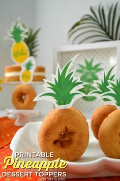 Pineapple Printable Cupcake Toppers. Print off these paper pineapple stems and add them to any baked goods for instant Pineapple party fun! MichaelsMakers  Tatertots and Jello