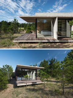 Luciano Kruk Has Completed A New Wood And Concrete House In Argentina The roof of this modern concrete home overhangs the wood deck, providing shade for the bedroom. Concrete Houses, Concrete Wood, Contemporary Home Decor, Modern Decor, Modern House Design, Modern Interior Design, Bungalow, Tiny House, Interior Design Programs