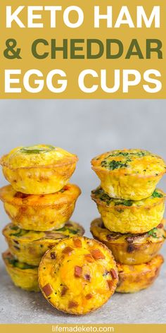 You healthy breakfast is covered with these easy keto ham and cheddar egg cups. Best of all, you can meal prep them in advance for those busy holiday weeks. | meal prep breafast | keto breakfast recipes | easy breakfast recipes | how to make egg cups #breakfastrecipes #ketobreakfast #lowcarbrecipes #holiday