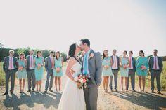 Blue, Bouquet, Bride, Groom, Coral, Gray, Mint, Rachel craig