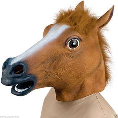 Horse Head Rubber Mask Panto Fancy Dress Party Cosplay Halloween Adult Costume in Clothing, Shoes, Accessories, Costumes, Accessories | eBay