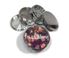 """I'm a Wild One Pink Floral Pattern 4 Piece Silver Aluminum or Zinc Metal Grinder 2.5"""" Wide Diamond Cut Herb Grinder Trippy Boho Chic Mod by Swagstr on Etsy"""