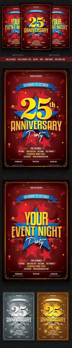 Anniversary / Event / Birthday Party Flyer Template PSD #design Download: http://graphicriver.net/item/anniversary-event-birthday-party-flyer/12786230?ref=ksioks