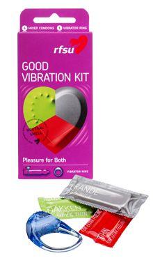 RFSU Good Vibration Kit inneholder en miks av ulike kondomer og en vibratorring som hjelper deg å få en maksimal nytelse.   Pakken inneholder: 2x Thin 2x Nøkken 2x Grande  1x Vibratorring