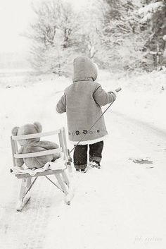 Little #Girl and #Teddy in winter - reminds me of my granddaughter!