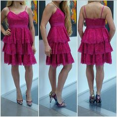 """🆕 """"Pretty in Pink"""" Dress NWT Brand new with tags  Gorgeous lace fuchsia dress with red lining. Band at waist, adjustable straps, 3 tiers of lacey ruffles, lining is red. Zips up in back. Pair with statement jewelry & heels!  Shell:100% Nylon Red lining 96%polyester 4%spandex  Trim 100%rayon Size 2:Length approx 34""""/ Bust approx 30"""" around Size 4:Length approx 35"""" /Bust approx 32"""" around Size 6:Lenngth approx 35""""/Bust approx 34"""" around  (Length will vary depending on were you adjust the…"""