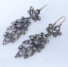 Antique-Georgian-Diamond-Pendant-Earrings-Silver-on-Gold-Pendeloque-5857