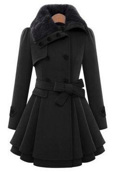 Fashion Slim Fur Lapel Double Breasted Belt Waist Swing Hem Plain Tunic Coat