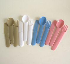 New to LaurasLastDitch on Etsy: Picnic Dishes Plastic Silverware Flatware Plasticware Hong Kong Retro 1980s Pastel Pink Light Blue White Beige Plastic Cutlery (14.99 USD)