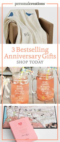 Choose from 3 bestsellers - a quilted throw perfect for cuddling, spirited Mason jar drinking mugs, and a 400-piece puzzle featuring the place it all began. Find hundreds of other personalized gifts for every anniversary at personalcreations.com. Get 15% off your order today.