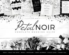 A beautiful hand-drawn floral, strikingly minimalist, complete wedding collection in simple black & white. This complete suite contains everything you need leading up to your wedding, the day itself and even afterwards.Mix and match the various included…