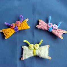 The kids will have fun making these cute Yarn Butterflies, they make a great Spring time craft!