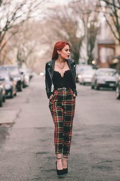 Black lace corset+tartan print/ plaid pants+black ankle strap pumps+black moto l. - New Ideas - Black lace corsettartan print/ plaid pantsblack ankle strap pumpsblack moto l - Edgy Outfits, Grunge Outfits, Night Outfits, Grunge Fashion, Look Fashion, Cool Outfits, Fashion Outfits, Outfit Night, Casual Night Out Outfit
