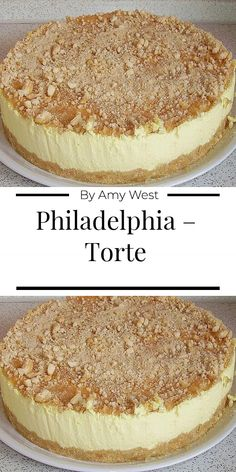 Philadelphia – Torte Ingredients For the base: 300 g sponge biscuits 125 g butter For the filling: 200 g cream cheese (Philadelphia) 1 cup sugar 1 pack vanilla sugar 2 orange (s) squeezed out l Easy Vanilla Cake Recipe, Chocolate Cake Recipe Easy, Chocolate Recipes, Easy Cookie Recipes, Dessert Recipes, Cheesecake Recipes, Sour Cream Biscuits, Philadelphia Torte, Philadelphia Recipes