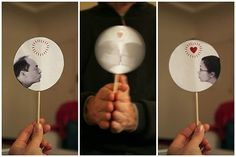 Another way a thaumatrope can be designed, on a stick instead of using elastic bands