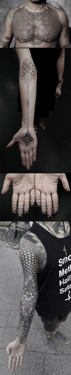 Striking Geometric Stipple Tattoos by Kenji Alucky #ink #tattoo