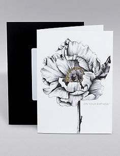 Black & Gold Rose Birthday Card
