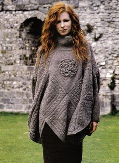 KNITTING PATTERN 9104 LADY S PONCHO with Sleeves & Celtic Knot iCord Design  DK