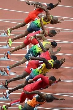 """Art - """"People in Action"""": London Olympics all diferent countries and they are black message from God Usain Bolt, Sports Images, Sports Pictures, Sports Track, Action Photography, Olympic Athletes, American Sports, Cross Country, Action Poses"""