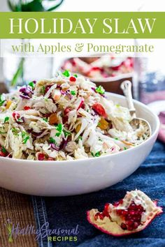 The apples, pomegranate, and dried apricot make it festive enough for your Christmas feast, yet it is easy enough for a weeknight dinner. Just chop everything up, toss it in a bowl. Drizzle on the dressing and you're good to go! Superfood Recipes, Salad Recipes, Thanksgiving Salad, Dinner Places, Holiday Recipes, Christmas Recipes, Food Festival, Pomegranate, Sweet Recipes