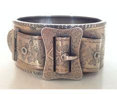 Huge Edwardian 1910 Birmingham Sterling Silver Cuff Bracelet