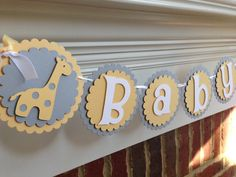 Giraffe BABY SHOWER Banner or NAME Yellow & Gray Neutral or Boy