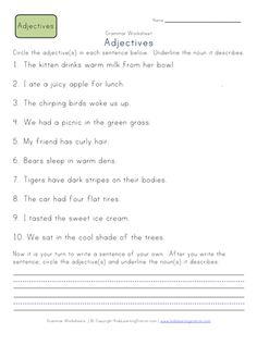 grade adverb worksheets for kids. Students will be identifying adverbs in sentences and creating sentences with these grammar worksheets English Adjectives, English Phonics, English Grammar Worksheets, Learn English Grammar, English Vocabulary, Adjective Worksheet, 2nd Grade Worksheets, Phonics Worksheets, 2nd Grade Grammar