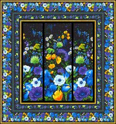 Morning Glory and Birds Panel x Cotton Fabric by Timeless Treasures Fabric Panel Quilts, Strip Quilts, Fabric Panels, Cross Stitch Pattern Maker, Modern Cross Stitch Patterns, Attic Window Quilts, Beginning Quilting, Bright Quilts, Country Quilts
