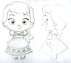 Elsa toddler plush concept art by Steve Thompson for Disney Stores Disney Sketches, Disney Drawings, Cartoon Drawings, Cute Drawings, Drawing Sketches, Disney Kunst, Arte Disney, Disney Art, Baby Disney Characters