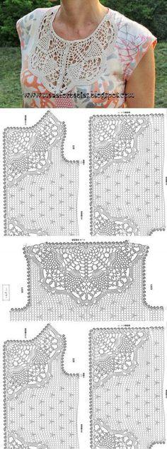 Fabulous Crochet a Little Black Crochet Dress Ideas. Georgeous Crochet a Little Black Crochet Dress Ideas. Débardeurs Au Crochet, Crochet Collar, Crochet Shirt, Crochet Jacket, Crochet Diagram, Crochet Cardigan, Filet Crochet, Irish Crochet, Crochet Stitches