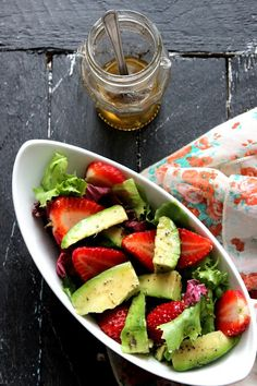 Stay Fit and Healthy with these Delicious Winter Salads , Avocado and Strawberry Salad with Honey Vinaigrette