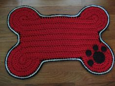 (4) Name: 'Crocheting : Dog Bone Placemat Rug - Dogs/Pets