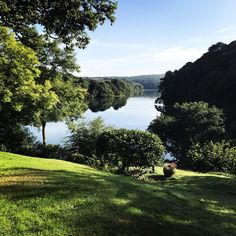 The tide in/tide out view from RockCottageUK on the Helford River in Cornwall, which inspired Nell & Van's childhood home in Mood Images, Stay Overnight, Book Characters, Cornwall, How To Introduce Yourself, United Kingdom, Golf Courses, River, Places
