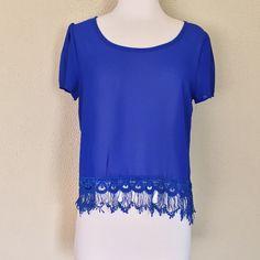 Crochet trim top Very cute sheer short sleeve royal blue top with crochet trim detail Sweet Xylia Tops