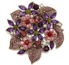 Joan Rivers Crystal Fantasy Floral Bouquet Brooch Brooch Bouquets, Floral Bouquets, Vintage Brooches, Vintage Jewelry, Joan Rivers Jewelry, Scrap, Rhinestone Jewelry, Shades Of Purple, Jewelery